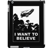 I Want To Believe in Delorean Flying iPad Case/Skin