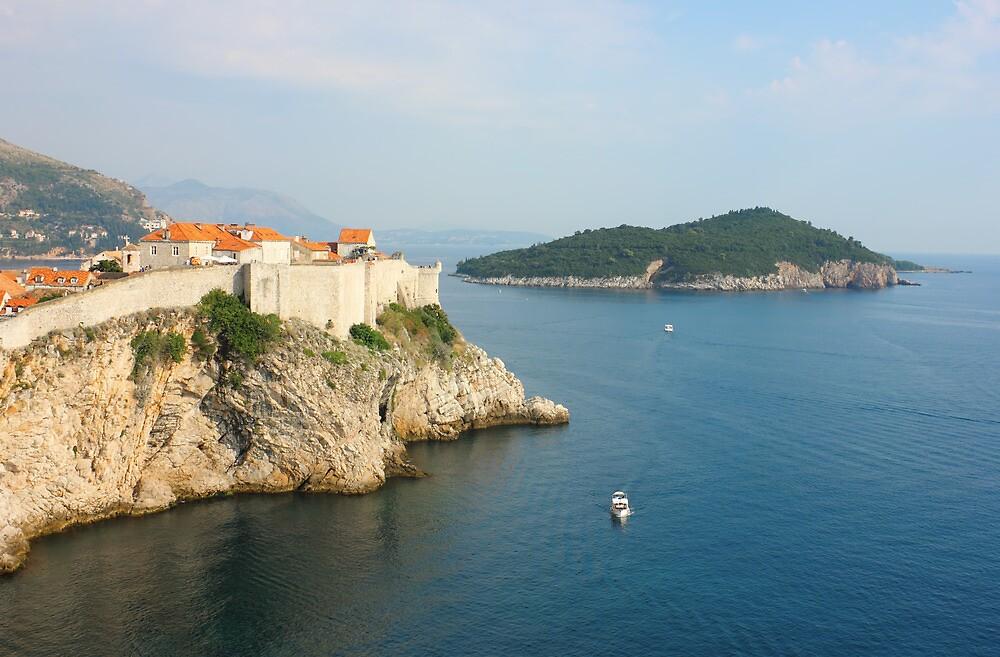 View Toward old Town Dubrovnik and Island Lokrum by kirilart