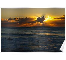 surfing under rays of light Poster