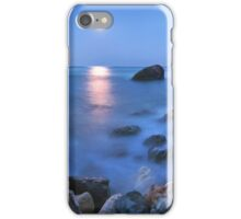 Coast rock with cross on moonrise iPhone Case/Skin