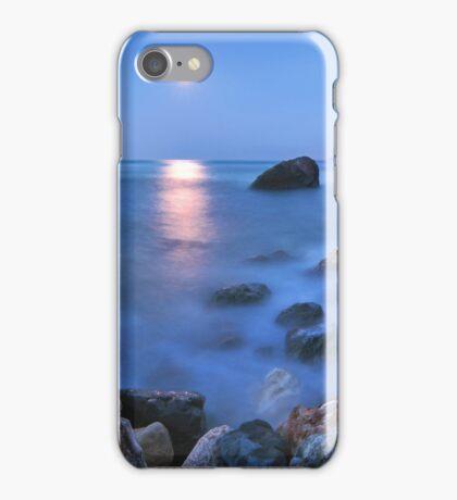 Coast rock with cross on moonrise iPhone Case/Skin