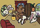 Teddy Bear And Bunny - The Decoy by Brett Gilbert