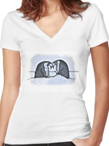 Snowy Winter Pretty Penguin Print Women's Fitted V-Neck T-Shirt