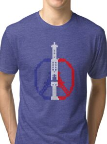 Knitted Peace For Paris Tri-blend T-Shirt