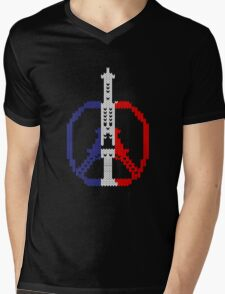 Knitted Peace For Paris Mens V-Neck T-Shirt