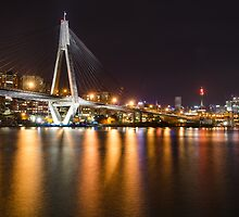 ANZAC Bridge & Sydney CBD at night by Karon Grant
