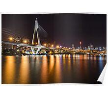 ANZAC Bridge & Sydney CBD at night Poster