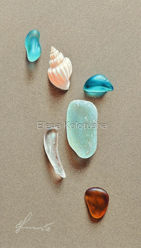Seaglass pieces by Elena Kolotusha