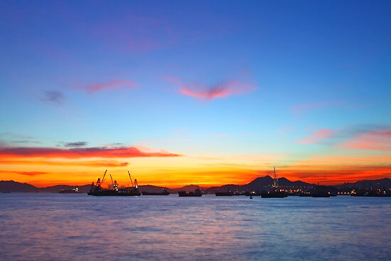 Sunset in Hong Kong at summer time by kawing921