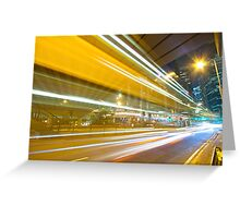 Traffic in modern city at night Greeting Card