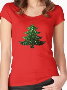 Christmas tree green sparkles  Women's Fitted Scoop T-Shirt