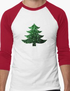 Christmas tree green sparkles  Men's Baseball ¾ T-Shirt