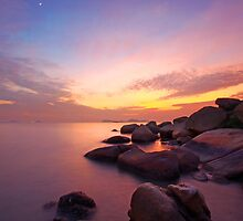 Sunset over the ocean. Nature composition under long exposure. by kawing921