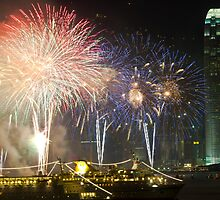 Hong Kong Chinese New Year fireworks along Victoria Harbour by kawing921