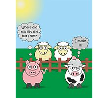 Rudy the Pig & Moody the Cow - Woolly Hat Humour Photographic Print