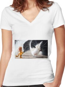 Cat-Woman Women's Fitted V-Neck T-Shirt