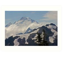 above the clouds beyond the ridge, mt baker, washington, usa Art Print