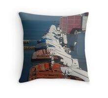 Queen Mary ship docked in San diego Throw Pillow