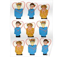 Set of Spock, Jim Kirk, and Bones valentines Poster