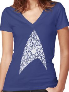 Live long and wear the Starfleet insignia Women's Fitted V-Neck T-Shirt