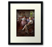 Sewing - I can watch her sew for hours Framed Print