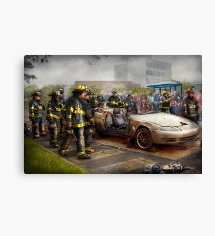 Firemen - The fire demonstration Canvas Print