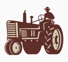Farmer Driving Vintage Tractor Retro T-Shirt