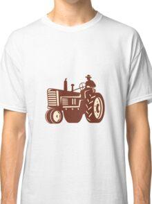 Farmer Driving Vintage Tractor Retro Classic T-Shirt
