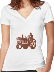 Farmer Driving Vintage Tractor Retro Women's Fitted V-Neck T-Shirt