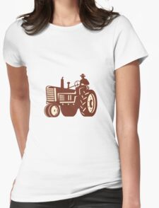 Farmer Driving Vintage Tractor Retro Womens Fitted T-Shirt