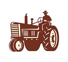 Farmer Driving Vintage Tractor Retro by patrimonio