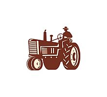 Farmer Driving Vintage Tractor Retro Photographic Print