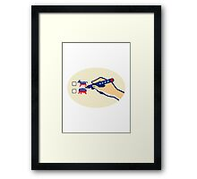 Hand Holding Pen Voting American Election Framed Print