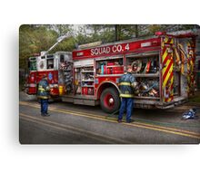 Firemen - The modern fire truck Canvas Print