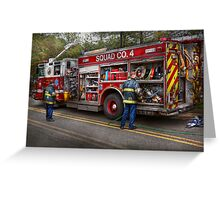 Firemen - The modern fire truck Greeting Card