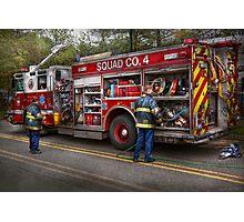 Firemen - The modern fire truck Photographic Print