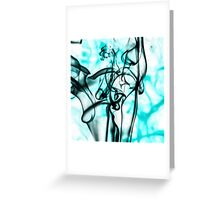 Black and Aqua Teal Abstract Smoke Pattern Greeting Card