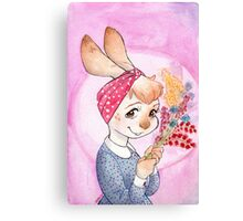Bunny girl with flowers Canvas Print