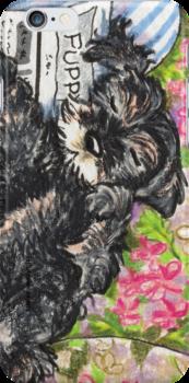 Miniature Schnauzer Puppy Dreams by offleashart