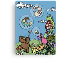 Teddy Bear And Bunny - The Bubble Flower Canvas Print