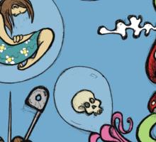 Teddy Bear And Bunny - The Bubble Flower Sticker