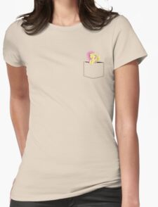 Pocket Flutter Shy Womens Fitted T-Shirt