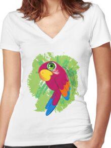 Parrot Women's Fitted V-Neck T-Shirt