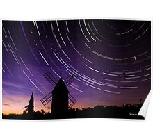 Star trails & Wind Mill Poster