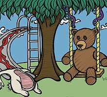 Teddy Bear And Bunny - The Playground by Brett Gilbert