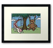 Teddy Bear And Bunny - The Playground Framed Print