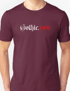 Gothic.Life Logo (White & Red) T-Shirt