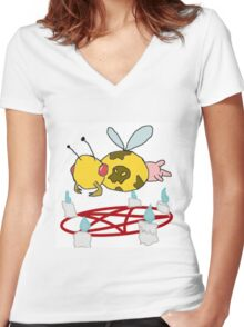Bumble the cow Women's Fitted V-Neck T-Shirt