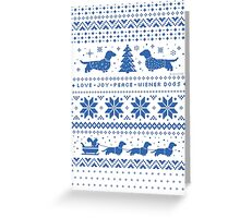 Love Joy Peace Wiener Dogs | Blue and White Greeting Card