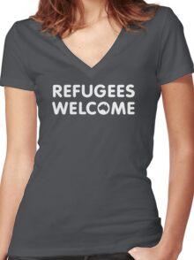 Refugees Welcome Australia (White) Women's Fitted V-Neck T-Shirt